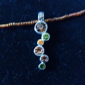 Brown & Green Crystal Pendant-Brown Bead Necklace